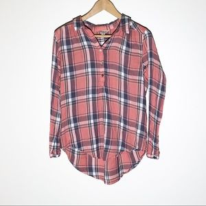 LUCKY BRAND plaid high low button down top SZ M